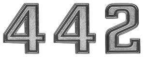 """1969-1970 Cutlass Header Emblem, 1969-70 """"4-4-2"""" (Front) 3-Piece"""