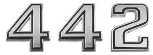 """Cutlass Trunk Emblem, 1969-72 """"4-4-2"""" 3-Piece"""