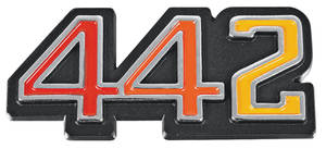 "Cutlass/442 Glove Box Emblem, 1970-71 ""4-4-2"""