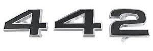 """1971-1971 Cutlass Grille Emblem, 1971 """"4-4-2"""" 3-Piece"""