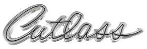 """Cutlass/442 Trunk Emblem, 1969 """"Cutlass"""" (Script)"""
