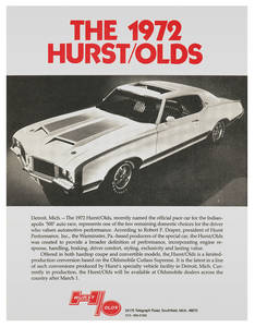 Hurst/Olds Sales Specification Sheet