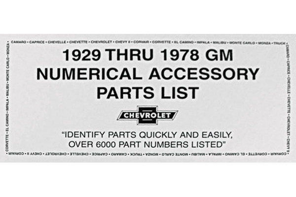 Photo of Parts List, 1929-78 GM Numerical Accessory