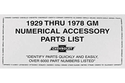 Parts List, 1929-78 GM Numerical Accessory