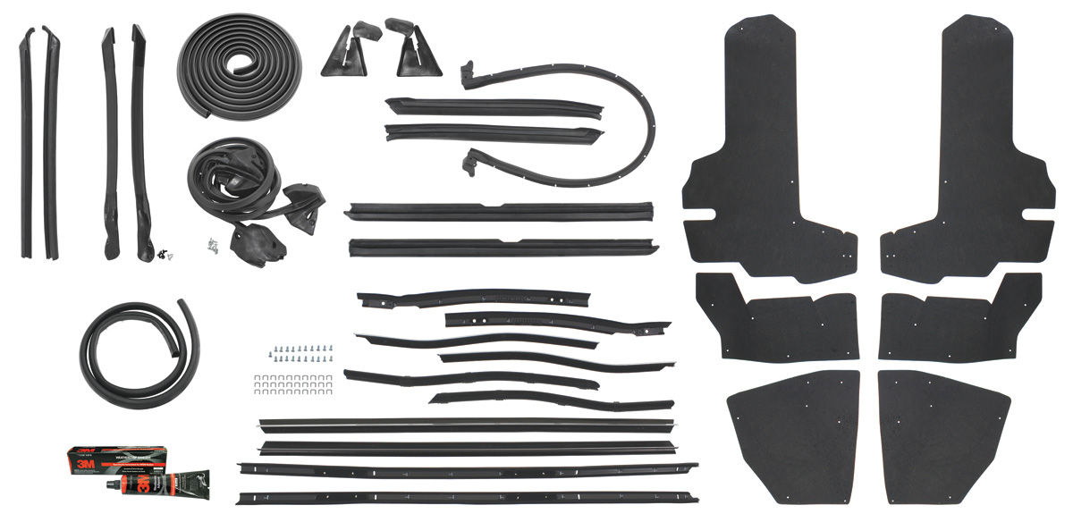 1971-73 Cadillac Weatherstrip Kit, Stage II (Convertible) Eldorado (OE) for years 1971, 1972 ...