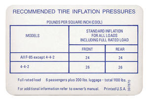 1967 Cutlass Tire Pressure Decal 4-4-2 (#397870)