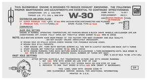 1970 Cutlass Emissions Decal 455 4-Bbl AT W-30/4-4-2 (OF)