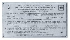 1969 Cutlass Emissions Decal 455 4-Bbl AT/HO (O6)