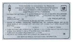 1969 Cutlass Emissions Decal 455 4-Bbl AT/HO (O6)