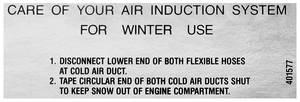 1968-69 Cutlass/442 Instruction Decal, Ram Air Care W-30/4-4-2 (#401577)