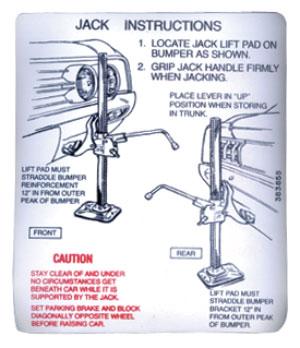 1969 Cutlass Trunk Decal - Jacking Instruction (#403753)