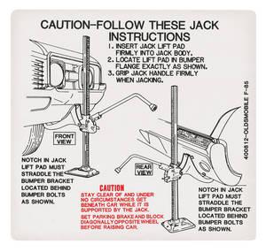 1968 Cutlass Trunk Decal - Jacking Instruction (#400812)