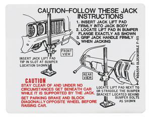 1970-1970 Cutlass Trunk Decal - Jacking Instruction (#406554)