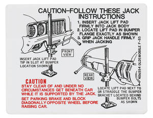 1970 Cutlass Trunk Decal - Jacking Instruction (#406554)