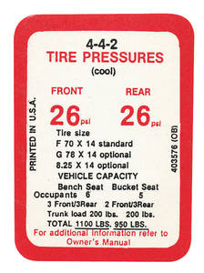 1969 Cutlass Tire Pressure Decal 4-4-2 (#403576)