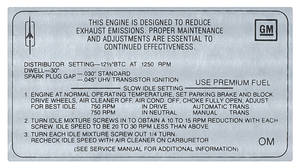 1968-1968 Cutlass Emissions Decal 400 4-Bbl AT/MT W-30 (OM)