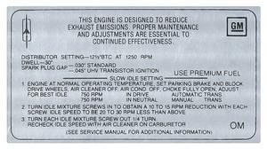 1968 Cutlass Emissions Decal 400 4-Bbl AT/MT W-30 (OM)