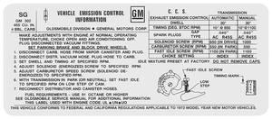 1972 Cutlass Emissions Decal 455 4-Bbl AT/MT W-30/4-4-2 (SG)