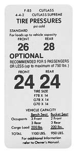 1971-72 Cutlass/442 Tire Pressure Decal Cutlass/4-4-2