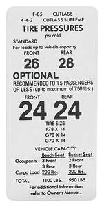 1971-72 Tire Pressure Decal Cutlass/4-4-2