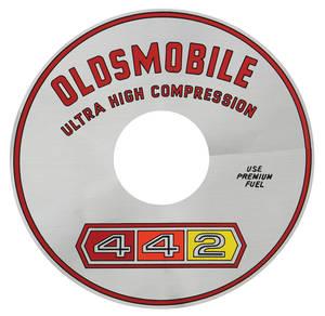 "1965 Cutlass/442 Air Cleaner Decal 4-4-2 Ultra-High Compression 400/4-BBL 11"" (Silver)"