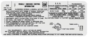 1971 Cutlass/442 Emissions Decal 350 4-Bbl AT/MT (OB)