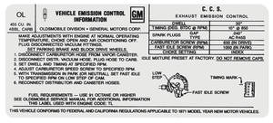 1971 Cutlass Emissions Decal 455 4-Bbl AT W-30/4-4-2 w/Air (OL)