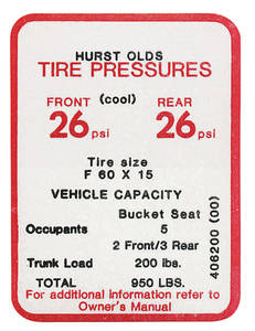 1969 Cutlass Tire Pressure Decal Hurst/Olds (#406200)