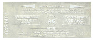 1965 Cutlass Air Cleaner Decal All 4-BBL Air Cleaner Service (#6421461)
