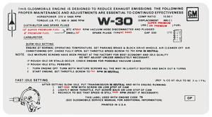 1970 Cutlass/442 Emissions Decal 455 4-Bbl MT W-30 (OP)