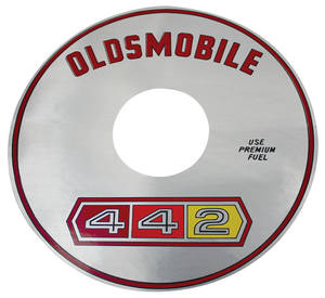 "1965 Cutlass/442 Air Cleaner Decal Jetfire 330/2-BBL 7-1/2"" (Silver)"