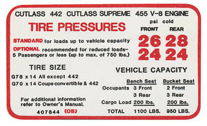 1970 Cutlass Tire Pressure Decal 4-4-2/455 (#407844)