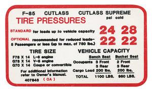1970-1970 Cutlass Tire Pressure Decal Cutlass w/350 (#407843)