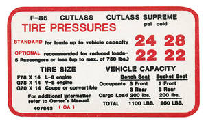 1970 Tire Pressure Decal Cutlass w/350 (#407843)