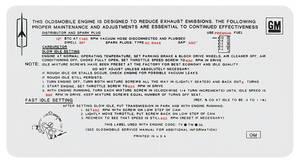 1970 Cutlass/442 Emissions Decal 455 4-Bbl AT 4-4-2/SX (OM)