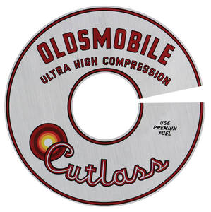 "1965-1965 Cutlass Air Cleaner Decal Cutlass Ultra-High Compression 330/4-BBL 11"" (Silver)"