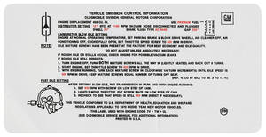 1970 Cutlass Emissions Decal 455 4-Bbl 4-4-2 AT (SM)