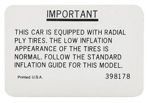 1967-68 Cutlass Tire Pressure Decal All Exc. 4-4-2 (#398178)