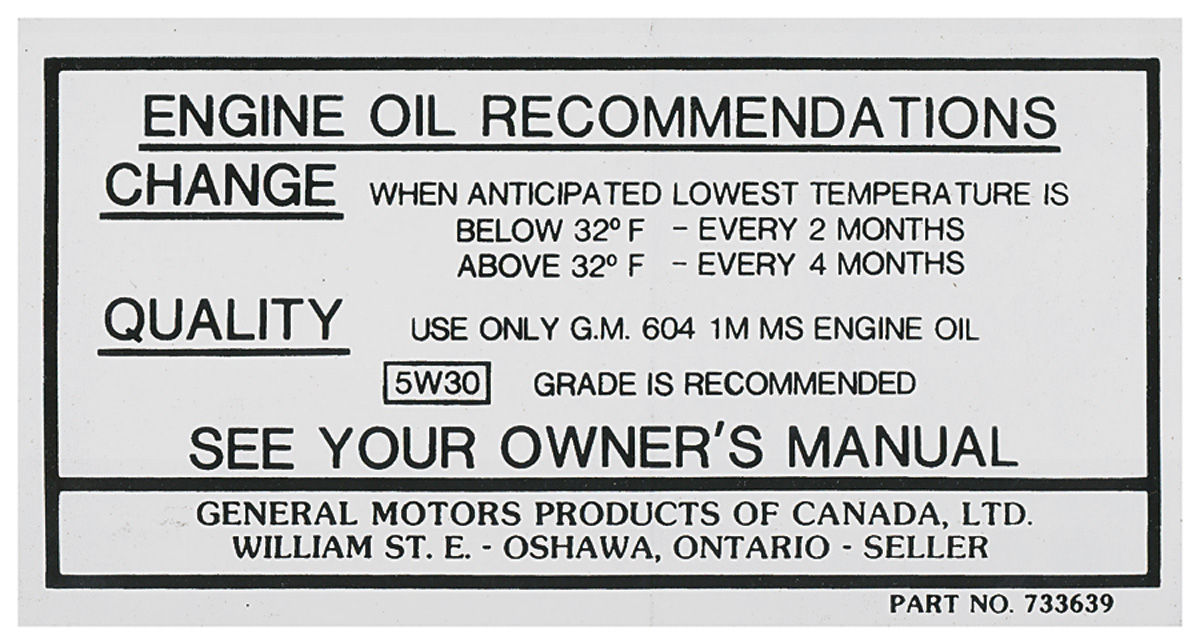 Cutlass/442 Oil Change Decal, Canada (#733639) Fits 1966