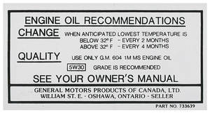 1966-67 Cutlass Oil Change Decal, Canada (#733639)