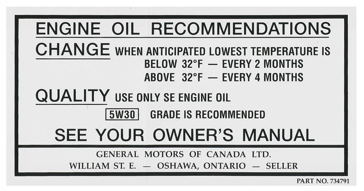 Photo of Oil Change Decal, Canada (#734791)