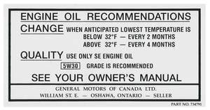 1968-1969 Cutlass Oil Change Decal, Canada (#734791)