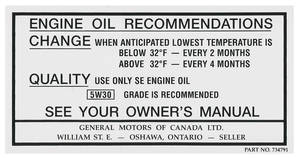 1968-69 Cutlass Oil Change Decal, Canada (#734791)