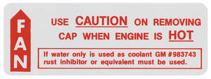 1966-67 Cutlass/442 Cooling System Caution Decal (#983743)