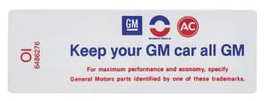 "1970 Cutlass Air Cleaner Decal, ""Keep Your GM Car All GM"" All 4-BBL (OI, #6486276)"