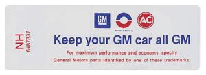 """1971 Cutlass Air Cleaner Decal, """"Keep Your GM Car All GM"""" 4-4-2 (NH, #6487337)"""