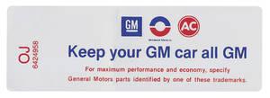 """1968 Cutlass/442 Air Cleaner Decal, """"Keep Your GM Car All GM"""" 400/4-BBL (OJ, #6424958)"""