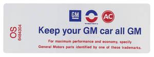 """1969 Cutlass/442 Air Cleaner Decal, """"Keep Your GM Car All GM"""" 400/4-BBL-455/4-BBL High-Perf. (OS, #6484304)"""