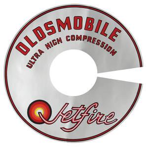 "1966-67 Cutlass Air Cleaner Decal Jetfire Ultra-High Compression 4-BBL 7-1/2"" (Silver)"