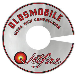 "1966-67 Cutlass/442 Air Cleaner Decal Jetfire Ultra-High Compression 4-BBL 7-1/2"" (Silver)"
